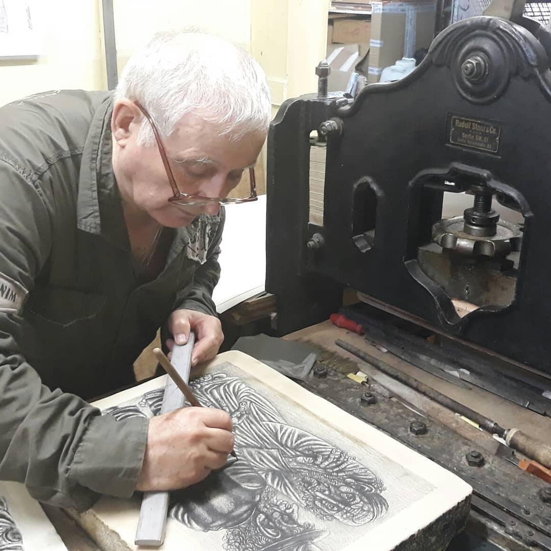Валерий Мишин в процессе работы 2019г.