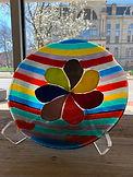 David Smyth, Glass Bowl, Stripes with Flower.jpg
