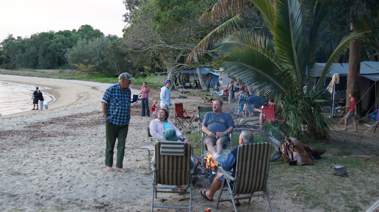 Beach camp fire