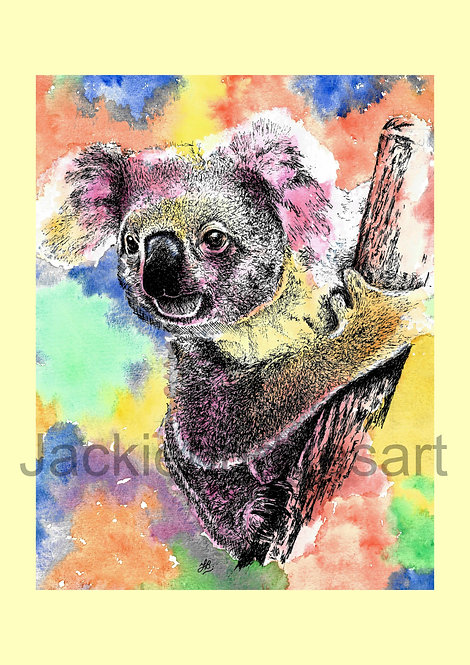 Koala (yellow background) A4 Print