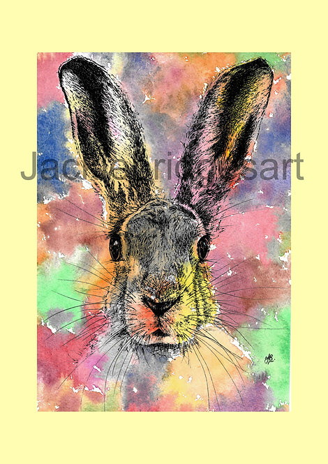 Hare (yellow background) A4 Print