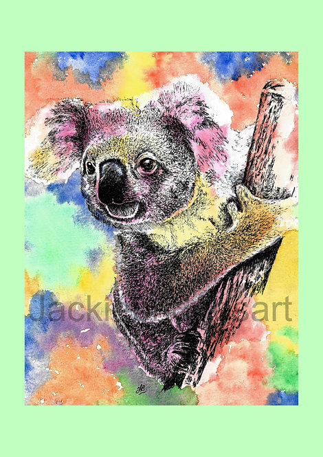 Koala (Green background) A4 Print