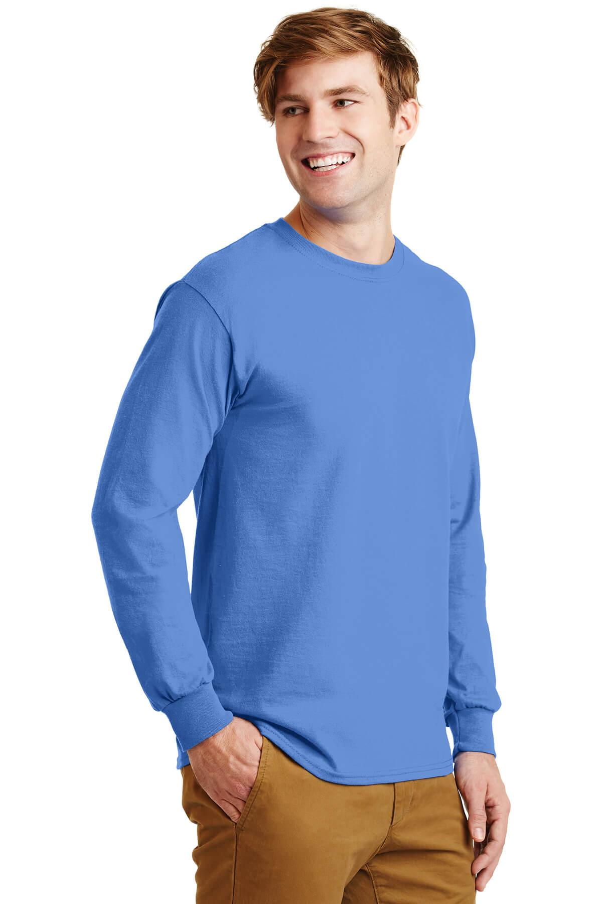 Blue Longsleeve Tee Model Side