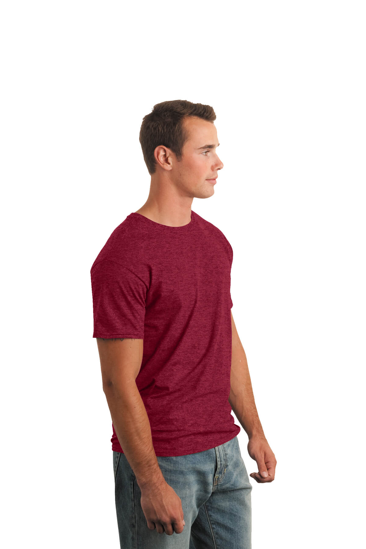 Cherry Red T-Shirt Model Side