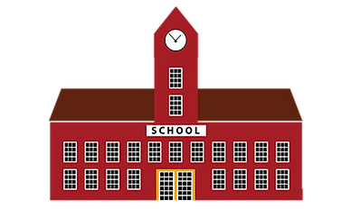 A red school building.