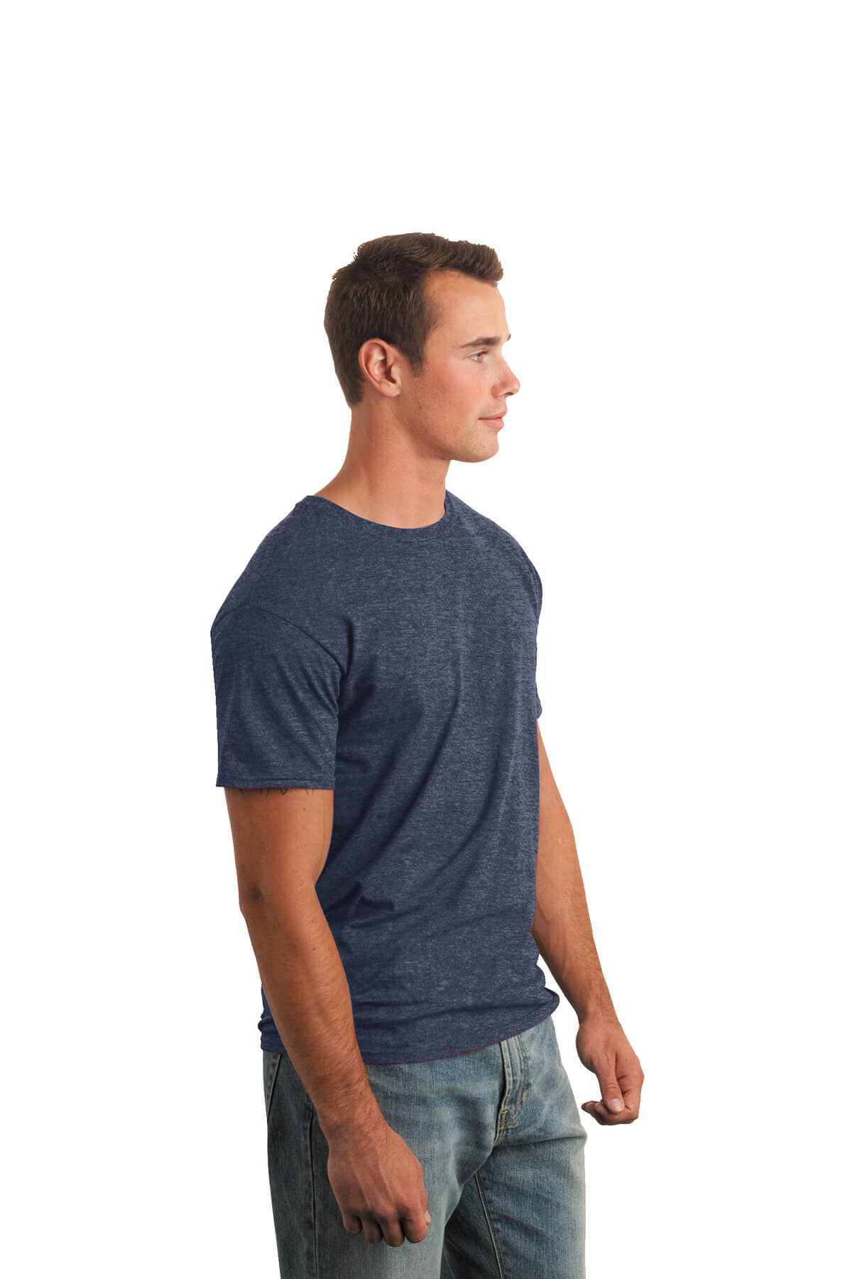 Heather Navy T-Shirt Model Side