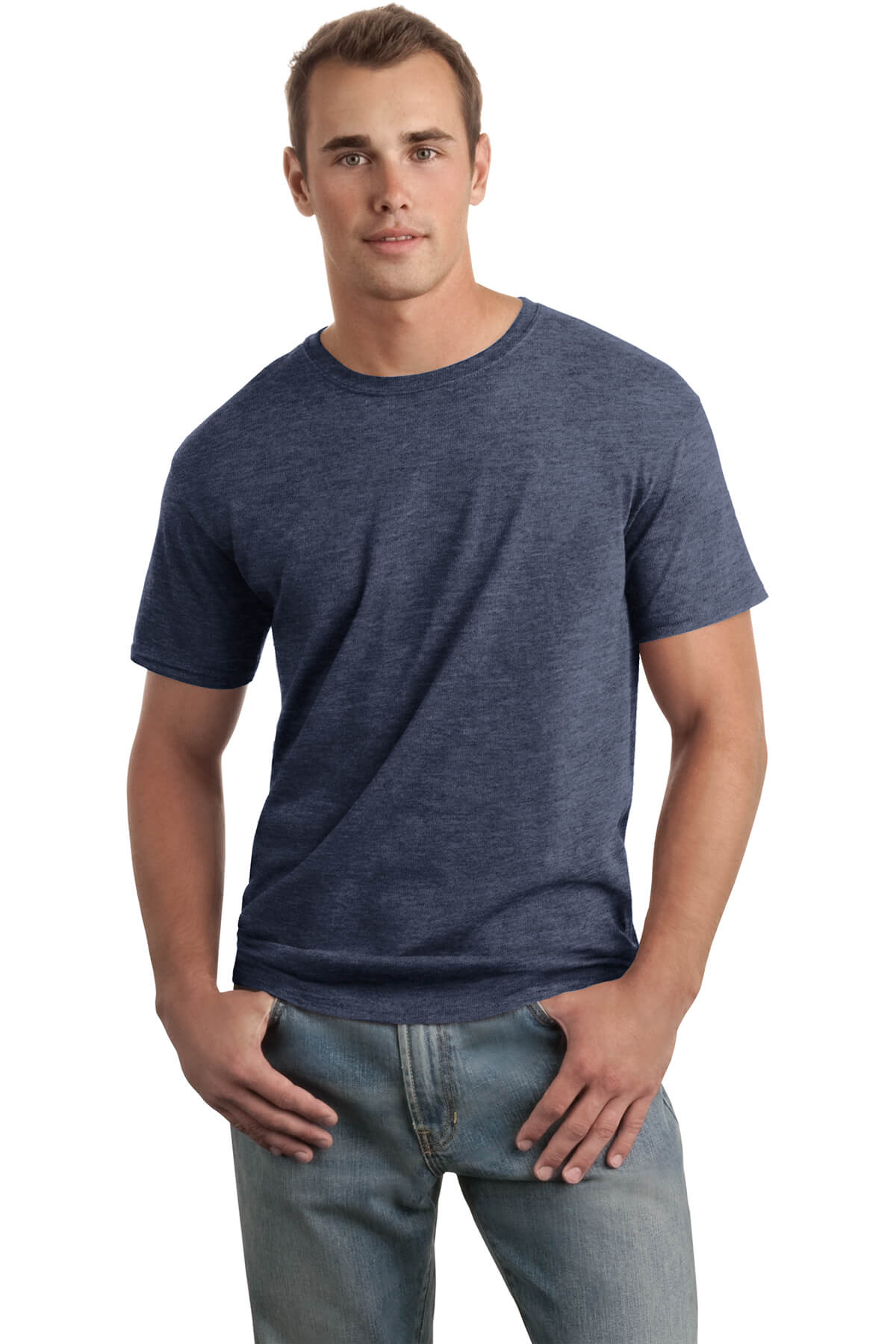Heather Navy T-Shirt Model Front