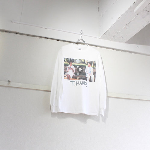TAG DOES NOT MAKE YOU. T.HANKS print long sleeve Tee
