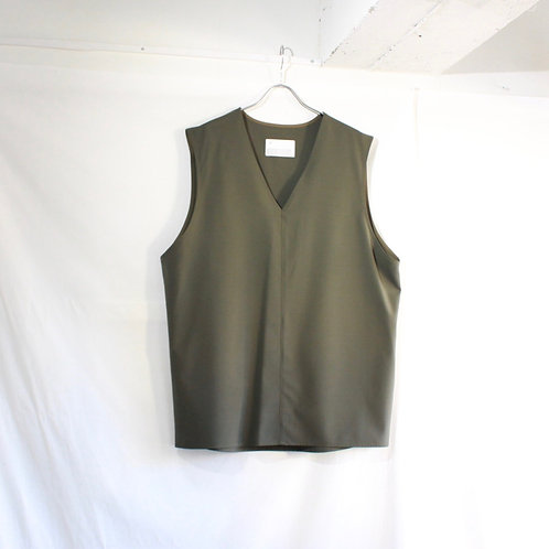 VOAAOV WASHABLE WOOL V/N VEST olive
