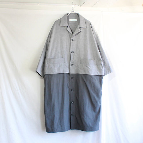 sneeuw ブロックシャツコート grey