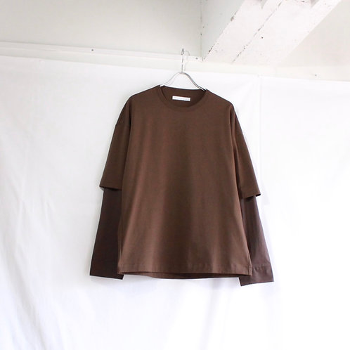 THEE double sleeve t-shirt. brown