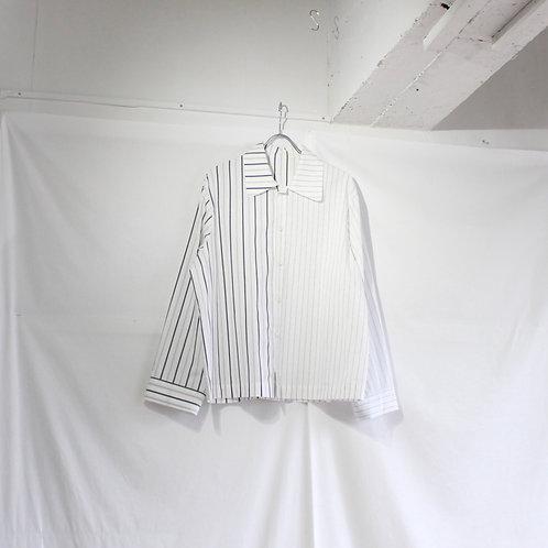 VOAAOV box shirt blouson stripe white size.1