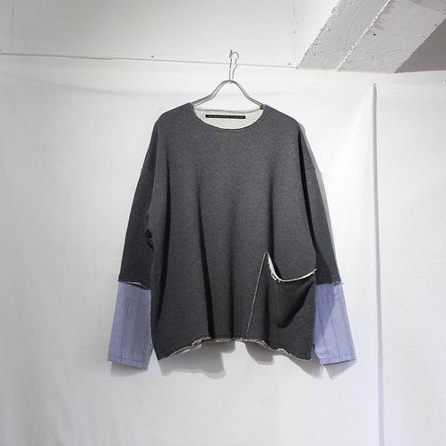 my beautiful landlet cotton shirt sleeve L/S tee charcoal