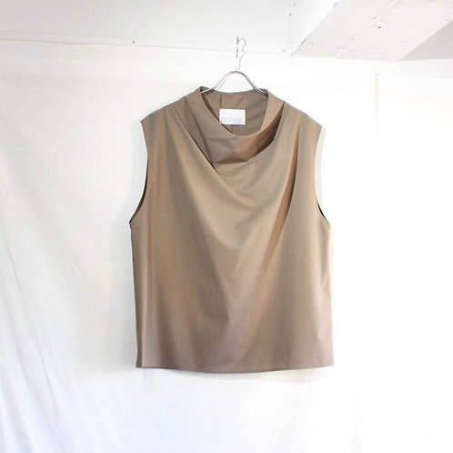 VOAAOV WASHABLE WOOL DRAPE VEST beige
