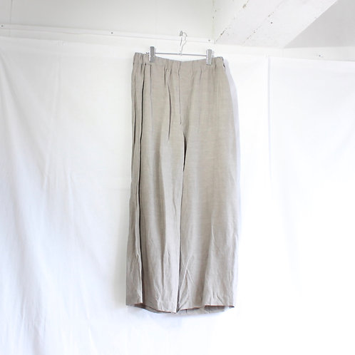 VOAAOV linen rayon wide pants gray