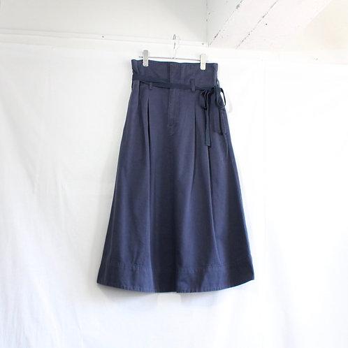 supp. chino cloth stone wash long skirt navy