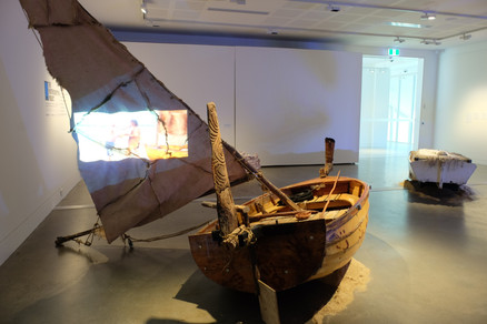 David mangenner Gough with Nathan Slater, Te Waka a trawlwoolway     (the Canoe/boat of trawlwoolway)