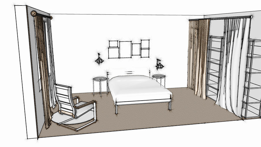 Projet 3D Chambre Home Staging vue dessi