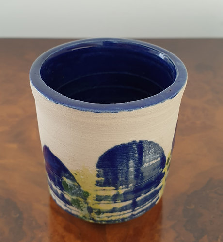 Blue and yellow plant pot, small