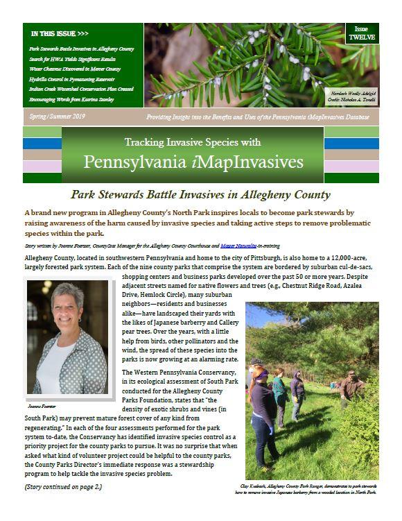 Pennsylvania iMapInvasives newsletter (Issue 12, Spring/Summer 2019)
