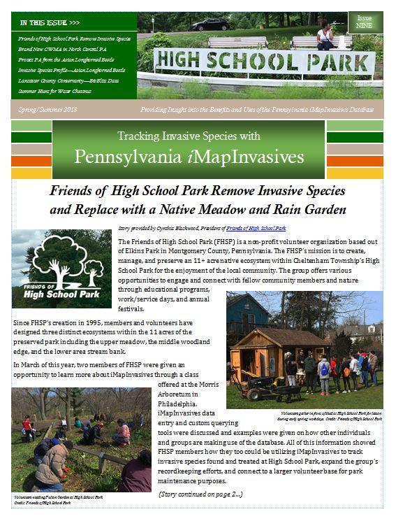 Pennsylvania iMapInvasives newsletter (Issue 9, Spring/Summer 2018)