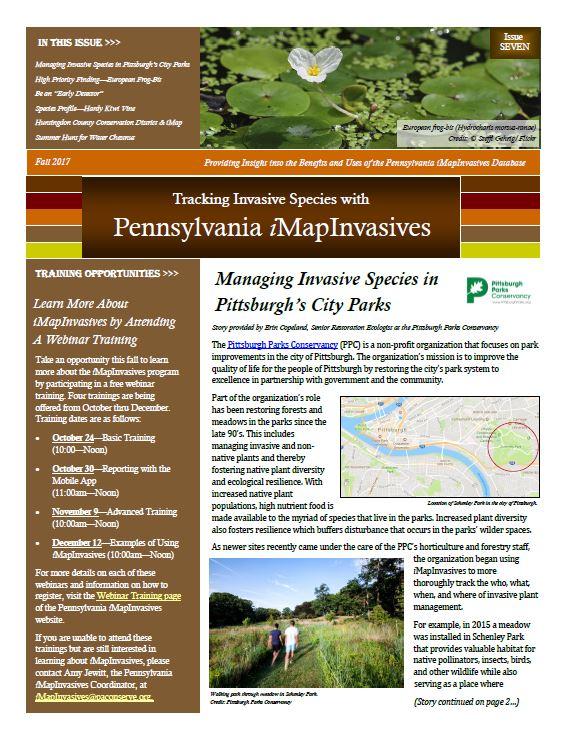 Pennsylvania iMapInvasives newsletter (Issue 7, Fall 2017)