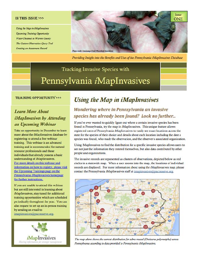 Pennsylvania iMapInvasives newsletter (Issue 1, Fall 2015)