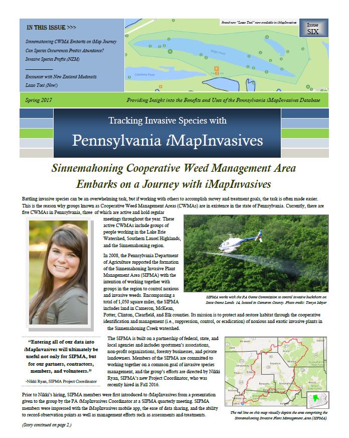 Pennsylvania iMapInvasives newsletter (Issue 6, Spring/Summer 2017)