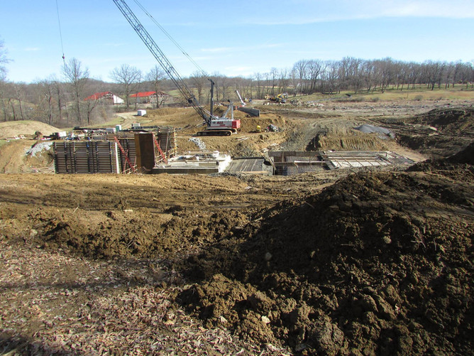 Dam replacement and related construction at Glade Run Lake.