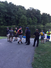 Water rescue team practicing on Glade Run Lake.  Photo date: July 29, 2018