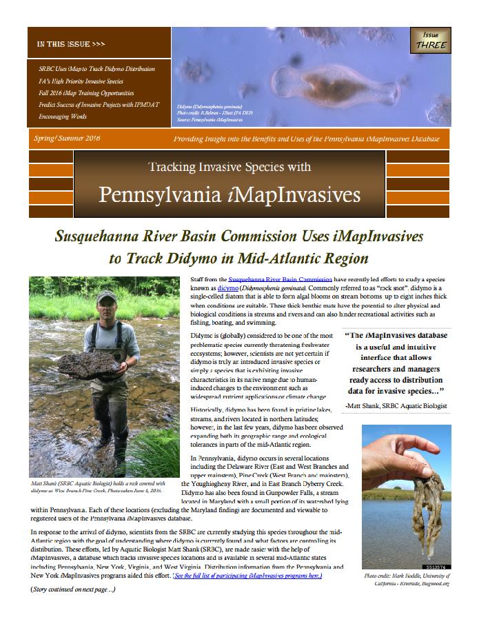 Pennsylvania iMapInvasives newsletter (Issue 3, Spring/Summer 2016)