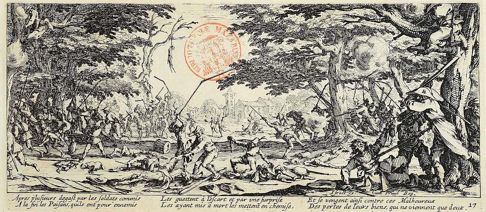 Israël Silvestre d'après Jacques Callot, La revanche des paysans, eau-forte, 1633, Bibliothèque Mazarine