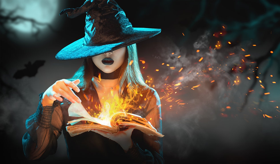 Halloween Witch girl with magic Book of spells portrait. Beautiful young woman in witches