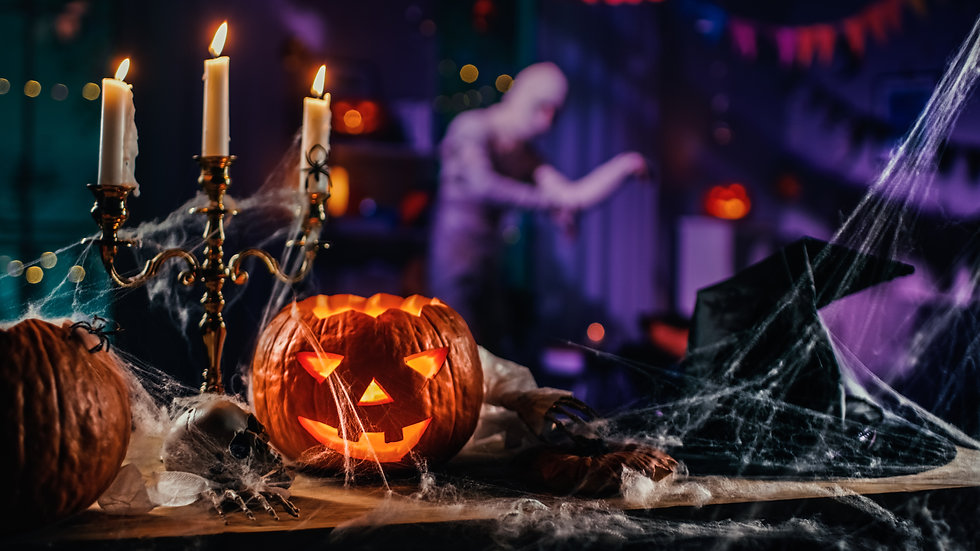 Halloween Still Life Colorful Theme_ Scary Decorated Dark Room with Table Covered in Spide