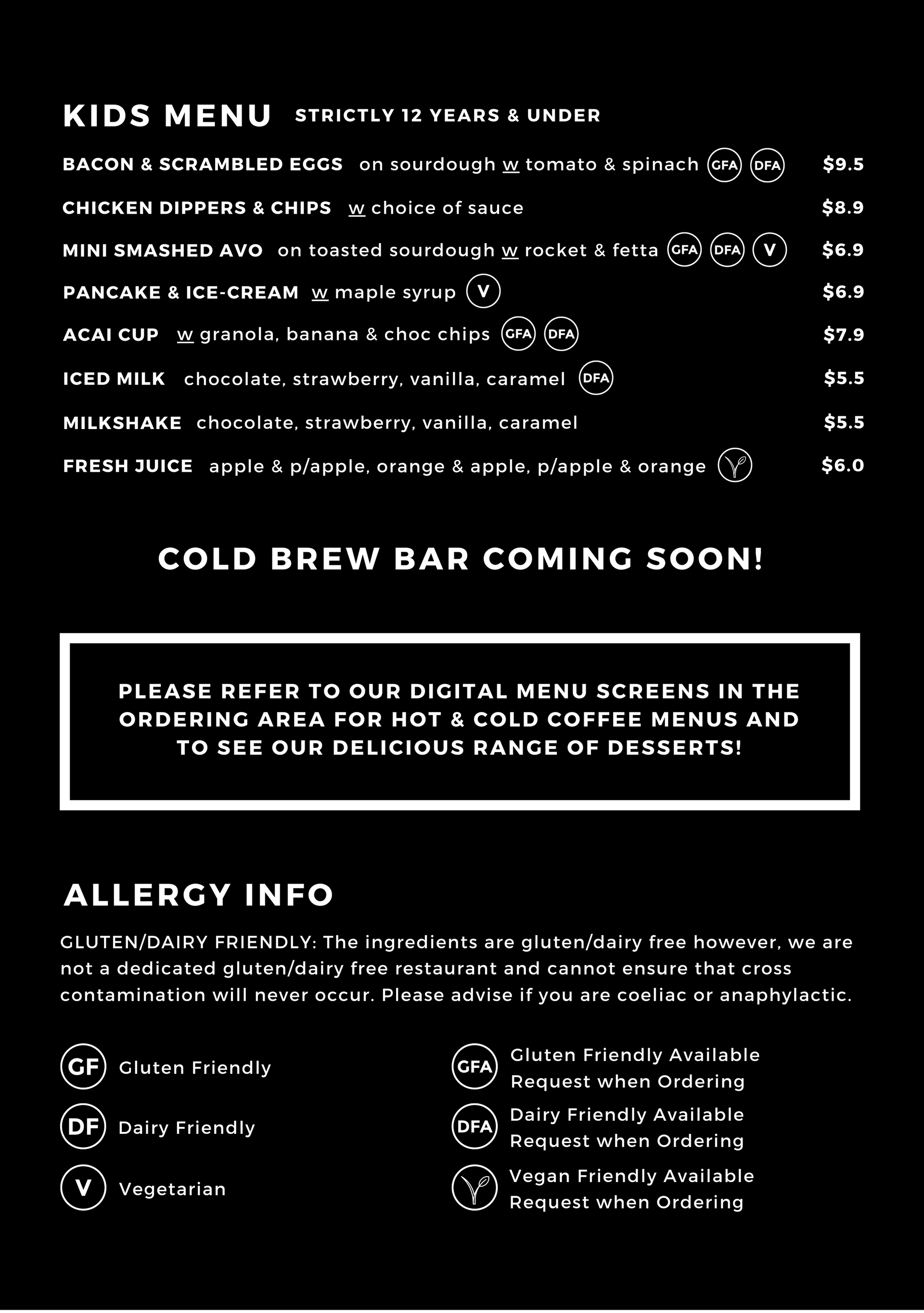Kids Menu & Allergy Info