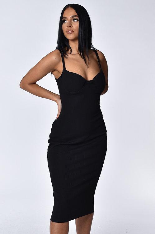 Alana Black Ribbed Midi Dress