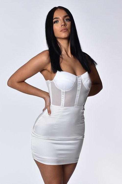Taylor White Satin Mini Dress