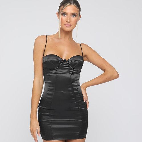 Estelle Cross Back Satin Dress in Black