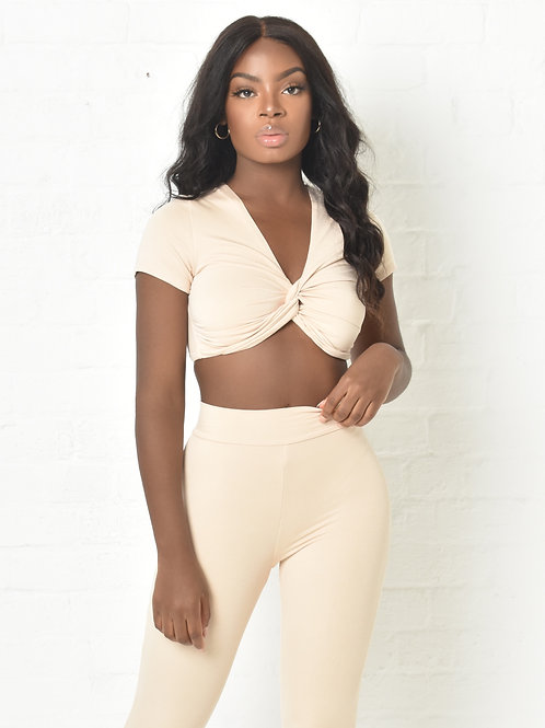 Carly Crop T-Shirt in Cream