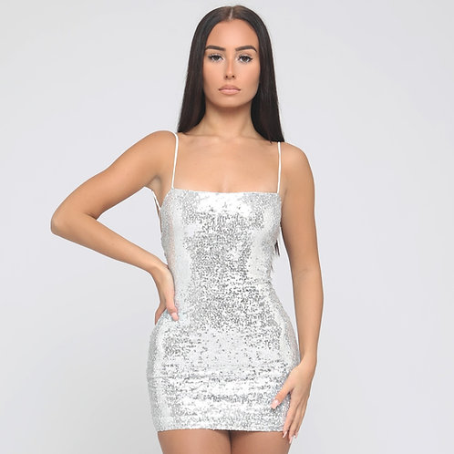 Giselle Sequin Tie Back Dress in Silver