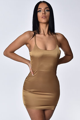 Isabella Nude Satin Mini Dress
