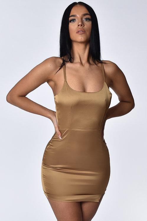 Isabella Nude Satin Mini Dress