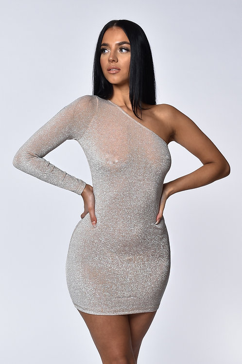 Aria Champagne Shimmer One Shoulder Mini Dress