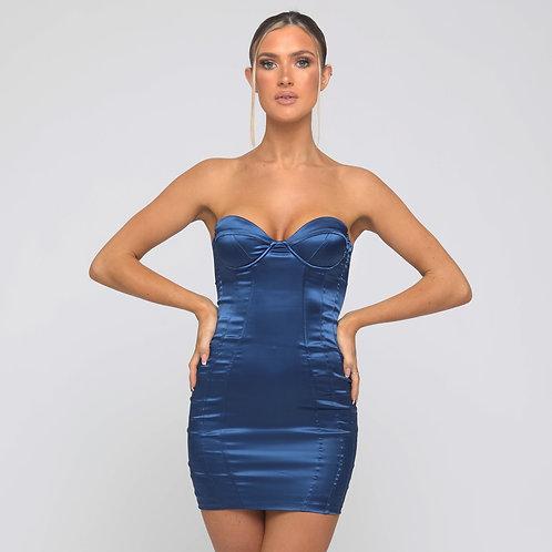 Carmel Satin Strapless Dress in Midnight Blue