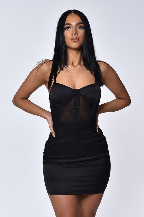 Taylor Black Satin Mini Dress