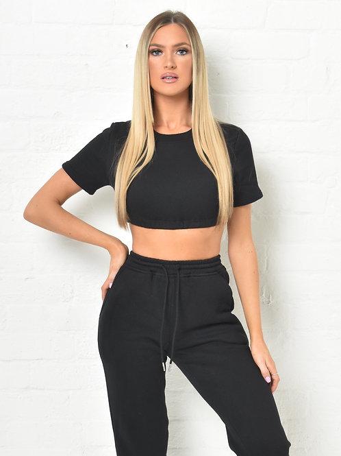 Khloe Crop T-Shirt Jumper in Black