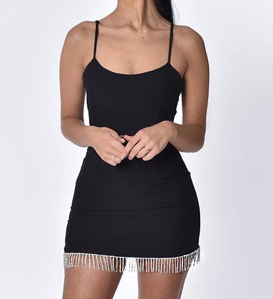 Sierra Black Mini Dress with Crystal Embellishment