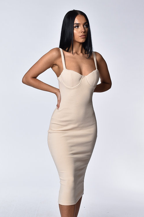 Alana Cream Ribbed Midi Dress