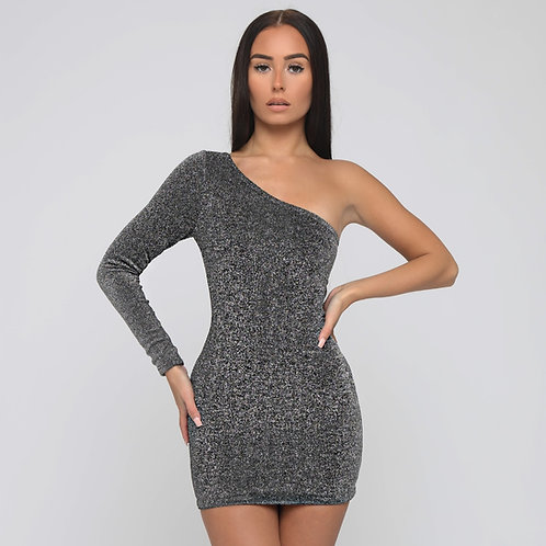Lila One Shoulder Shimmer Dress in Grey