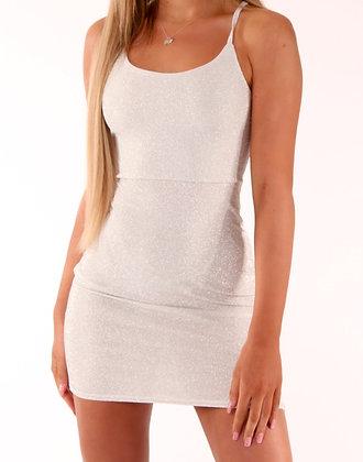 Saski Dress White Silver